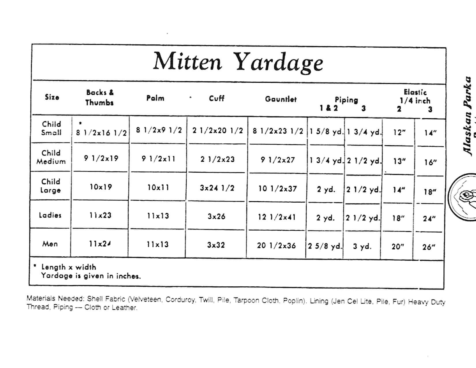 mitten pattern sizes small medium large $ 9 60 alaskan adult mitten ...